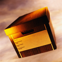 Close-Up of a Cardboard Banker's Box